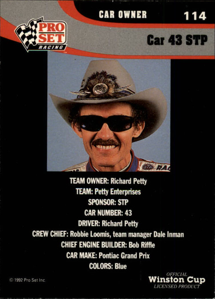 1992 Pro Set #114 Richard Petty's Car back image