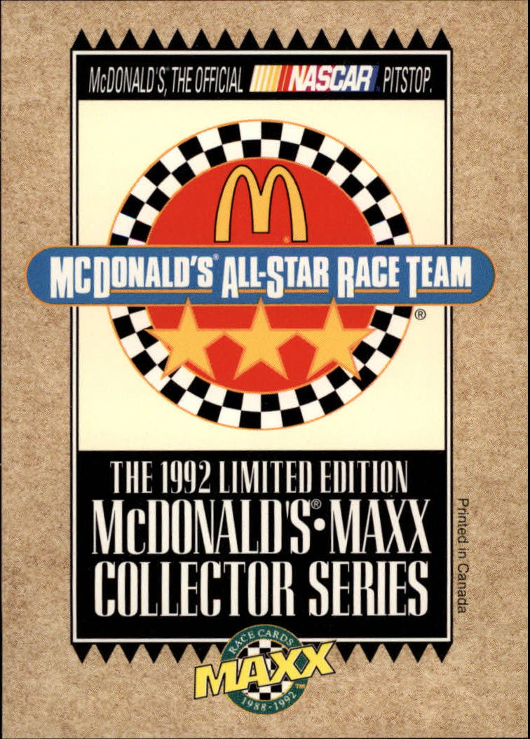 1992 Maxx McDonald's #NNO Cover Card