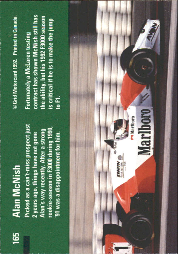 1992 Grid Formula One #165 Alan McNish