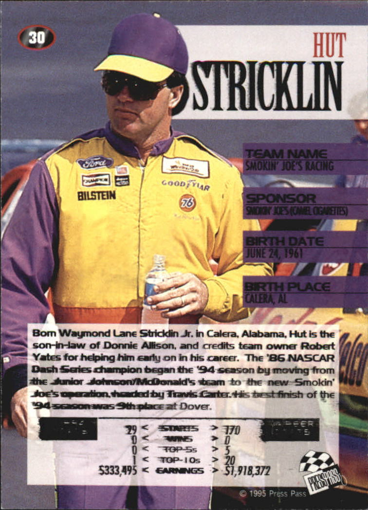 1995 Press Pass #30 Hut Stricklin back image