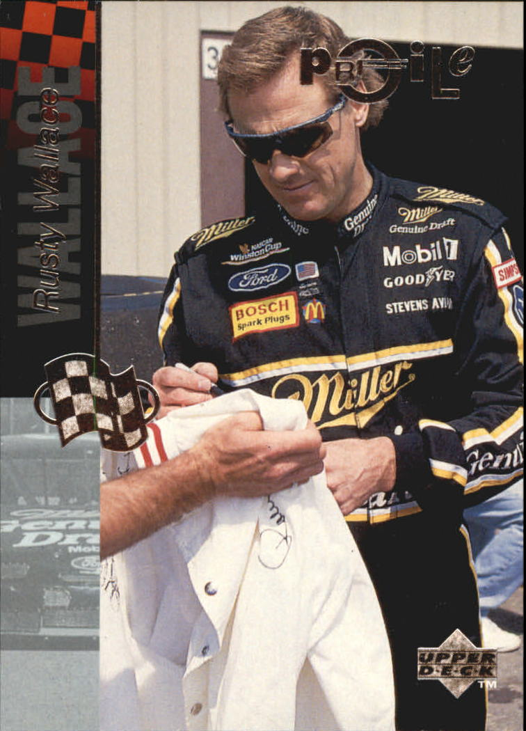 1995 Upper Deck Rusty Wallace Phone Cards #2 Rusty Wallace Art/Rusty with two car images