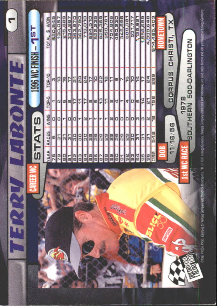 1997 Press Pass #1 Terry Labonte back image