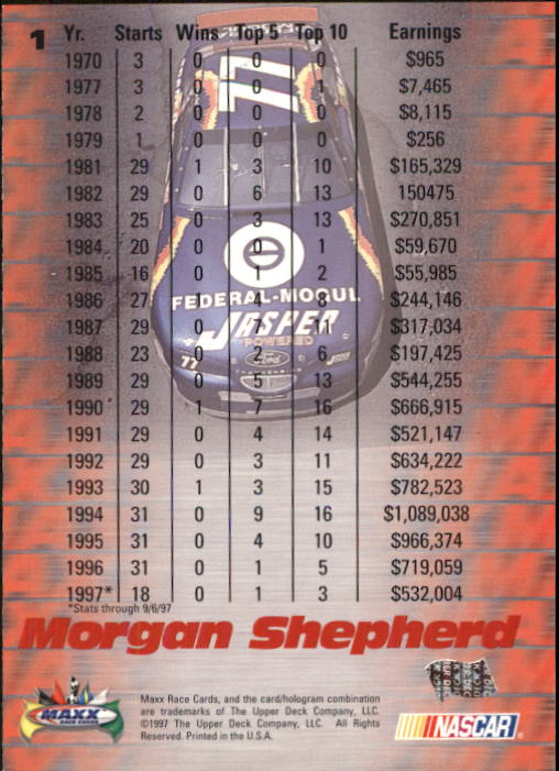 1997 Maxx #1 Morgan Shepherd