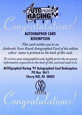 1997 Autographed Racing Autographs #31 Sterling Marlin