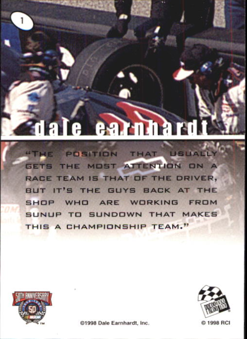 1998 Press Pass Stealth #1 Dale Earnhardt's Car back image