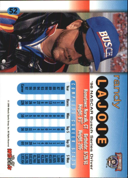 1998 Wheels #52 Randy LaJoie back image