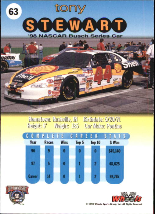 1998 Wheels #63 Tony Stewart's Car