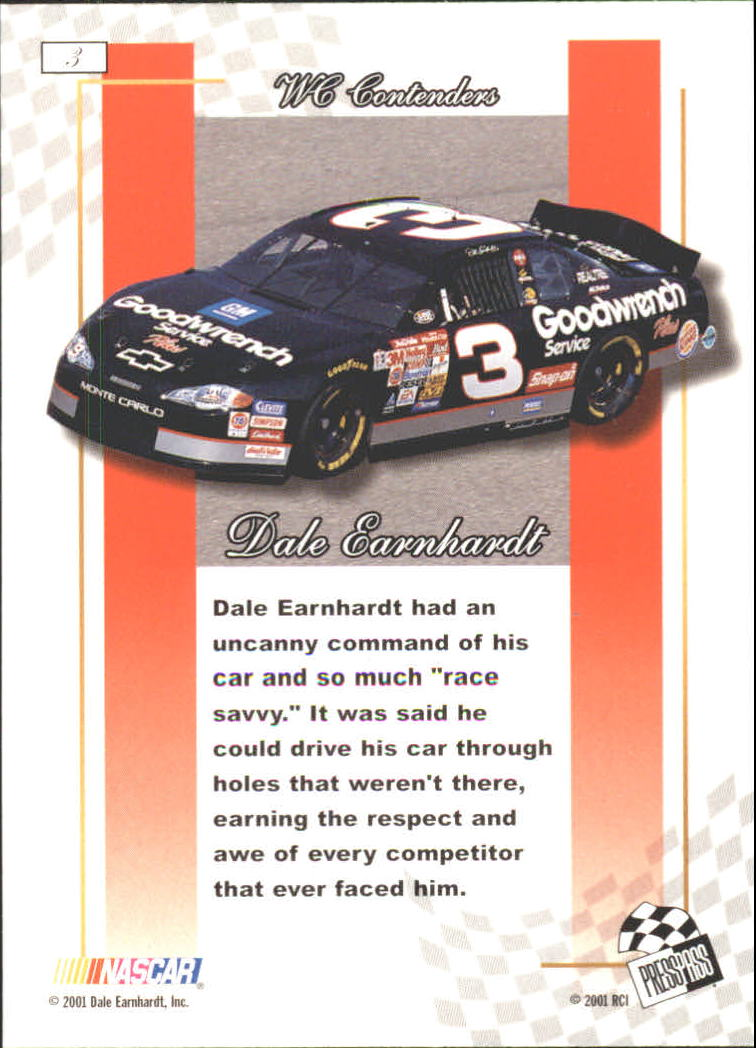 2001 Press Pass Premium Gold #3 Dale Earnhardt back image