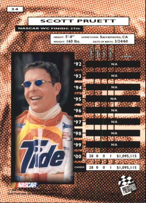 2001 Press Pass #34 Scott Pruett back image