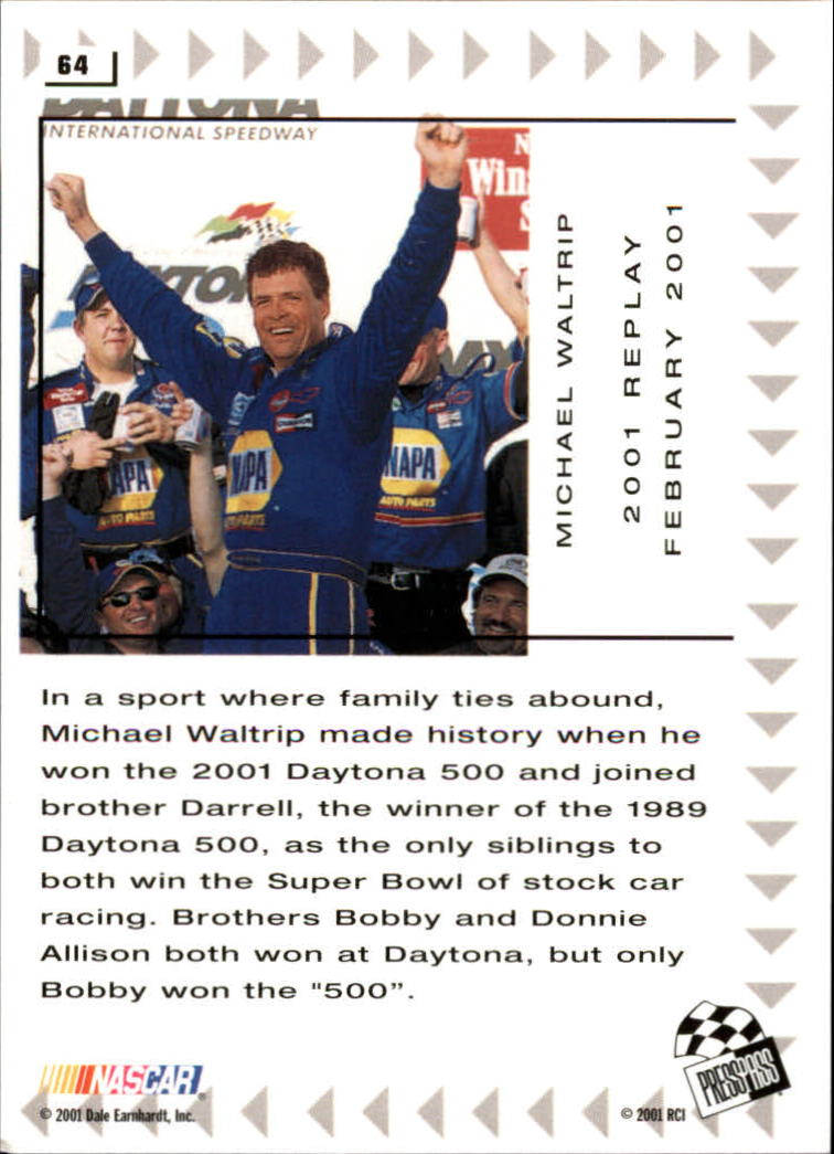 2002 Press Pass #64 Michael Waltrip REP back image