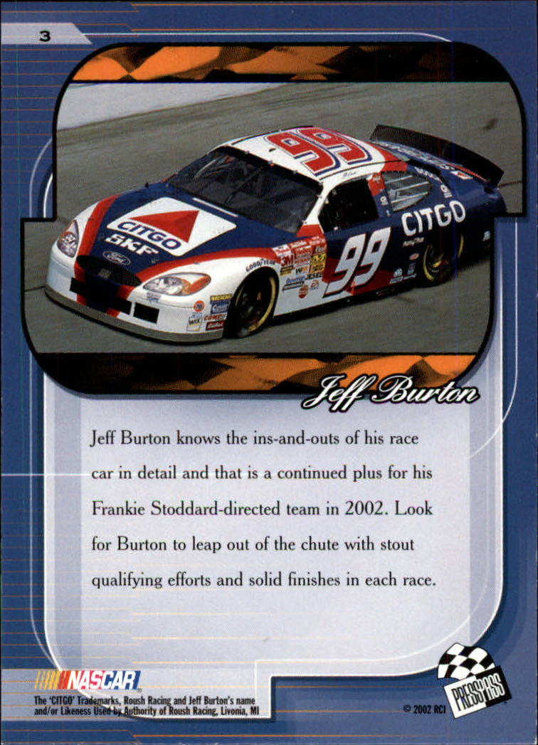 2002 Press Pass Premium #3 Jeff Burton back image