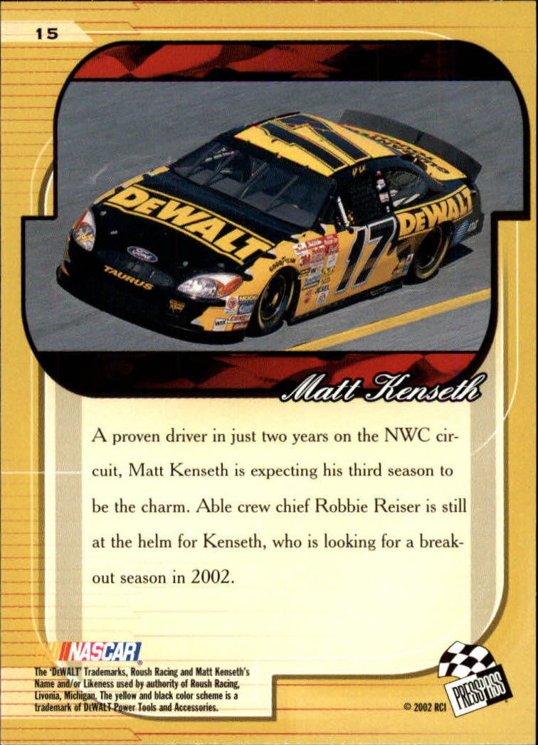 2002 Press Pass Premium #15 Matt Kenseth back image