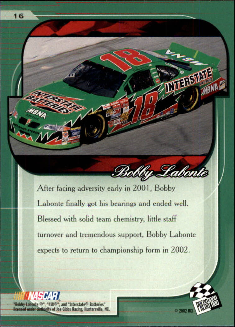 2002 Press Pass Premium #16 Bobby Labonte back image