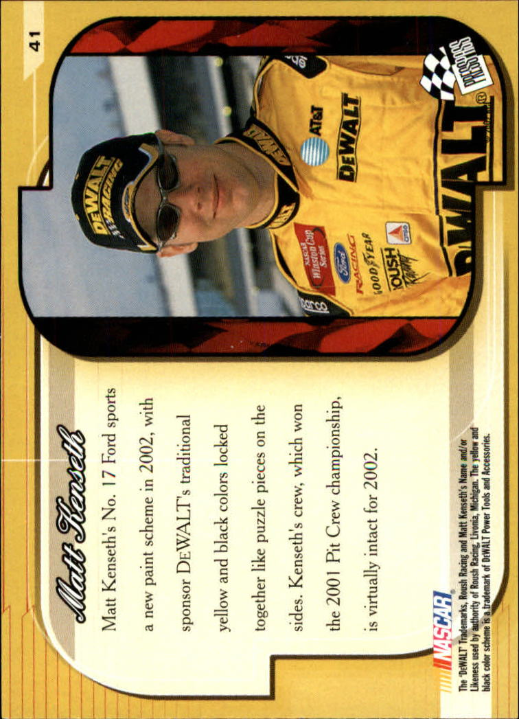 2002 Press Pass Premium #41 Matt Kenseth's Car back image