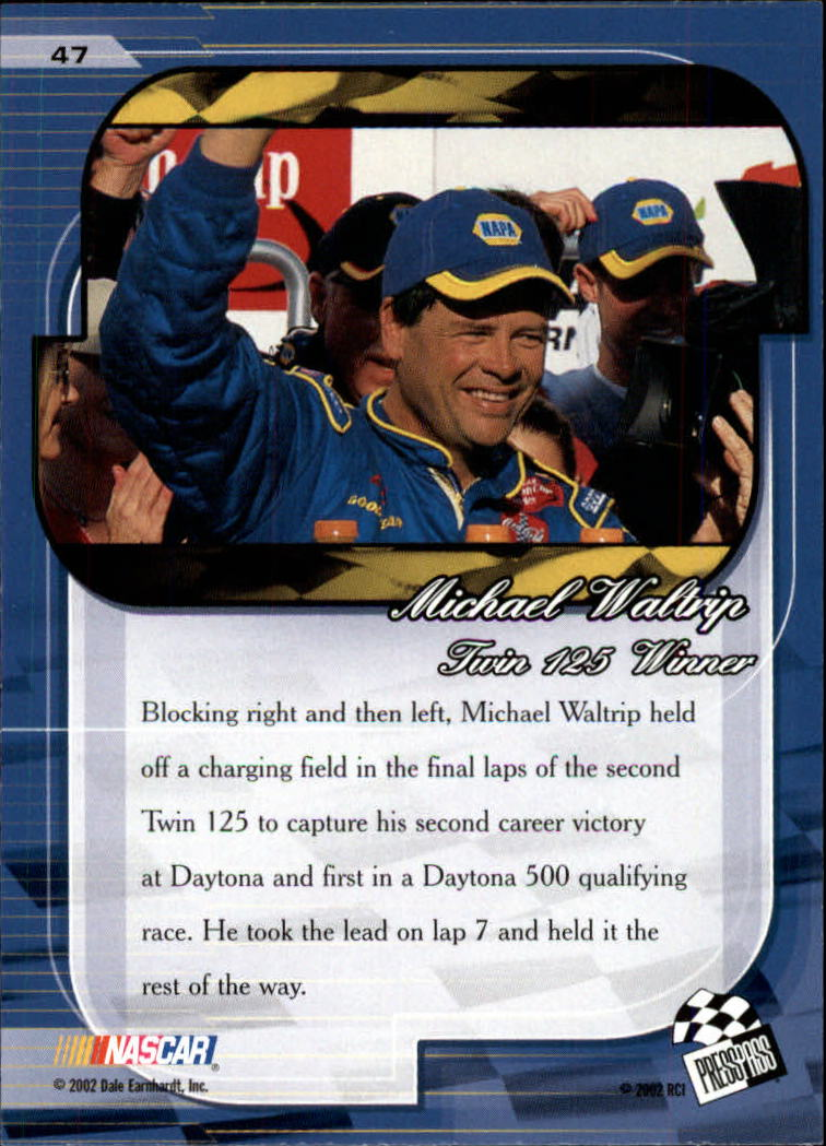 2002 Press Pass Premium #47 Michael Waltrip SW back image