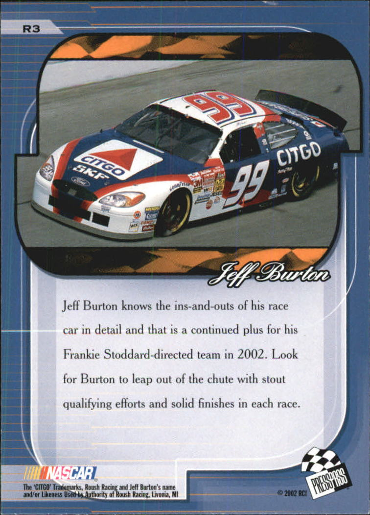 2002 Press Pass Premium Red Reflectors #3 Jeff Burton back image
