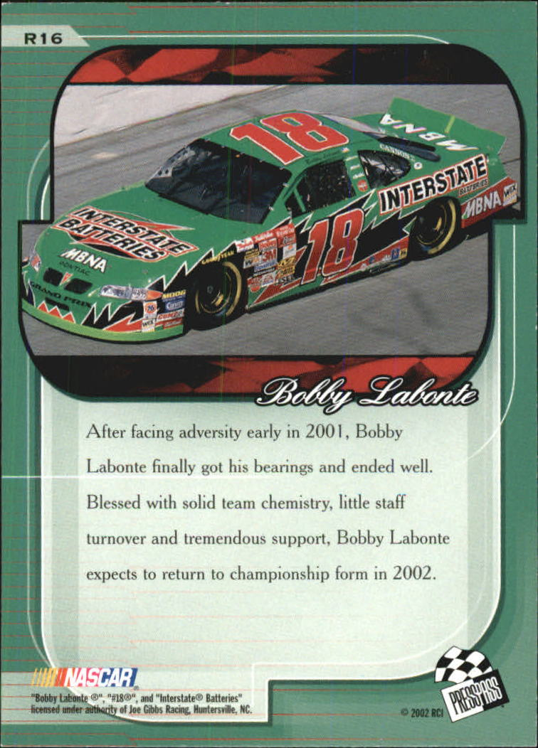 2002 Press Pass Premium Red Reflectors #16 Bobby Labonte back image