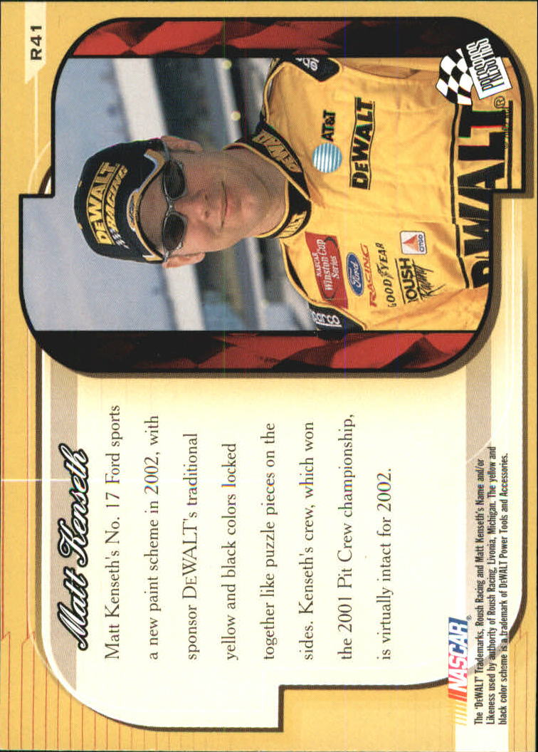 2002 Press Pass Premium Red Reflectors #41 Matt Kenseth's Car back image