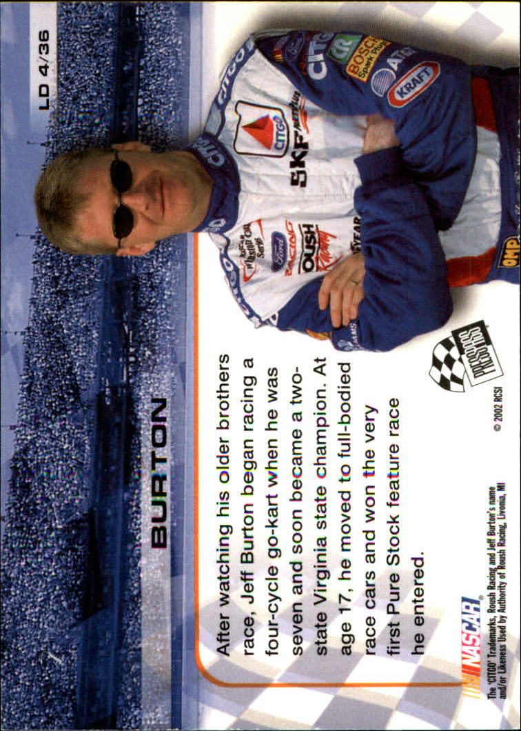2002 Press Pass Trackside License to Drive #4 Jeff Burton back image