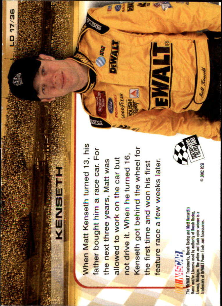 2002 Press Pass Trackside License to Drive #17 Matt Kenseth back image