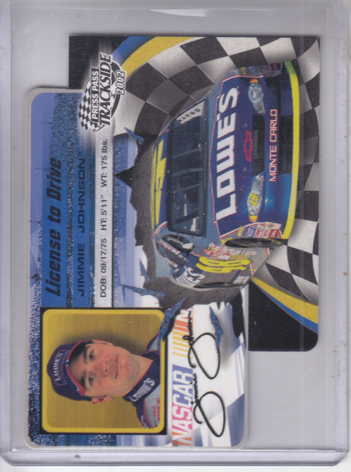 2002 Press Pass Trackside License to Drive Die Cuts #15 Jimmie Johnson