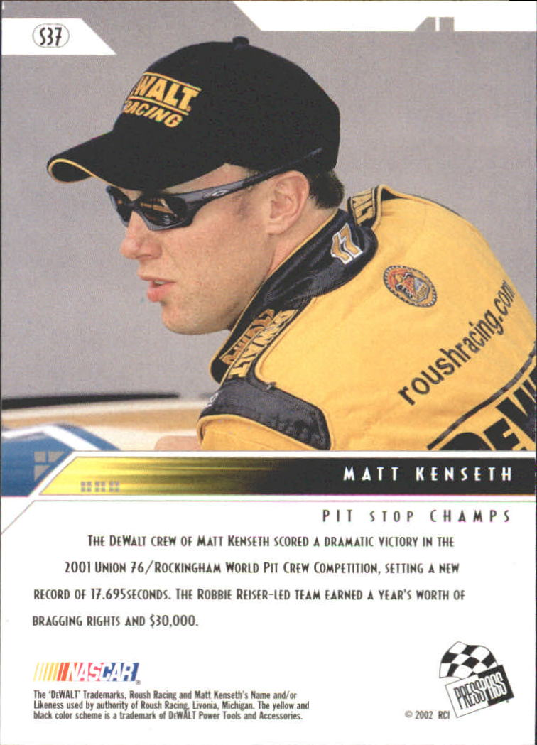 2002 Press Pass Eclipse Solar Eclipse #S37 Matt Kenseth ACC back image