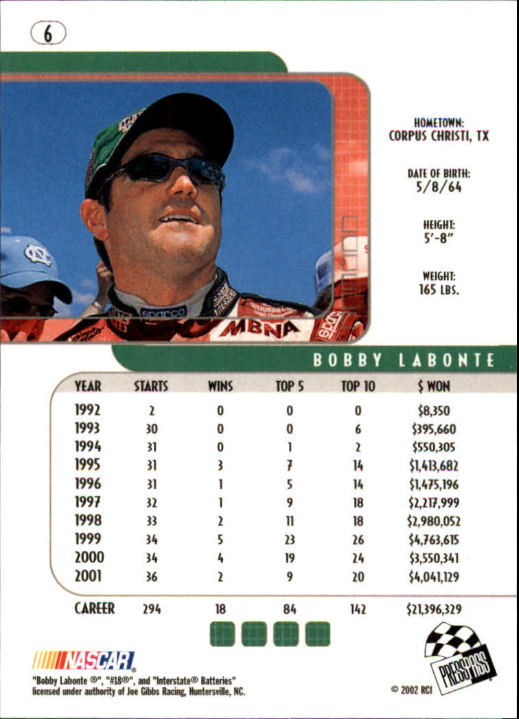 2002 Press Pass Eclipse #6 Bobby Labonte back image