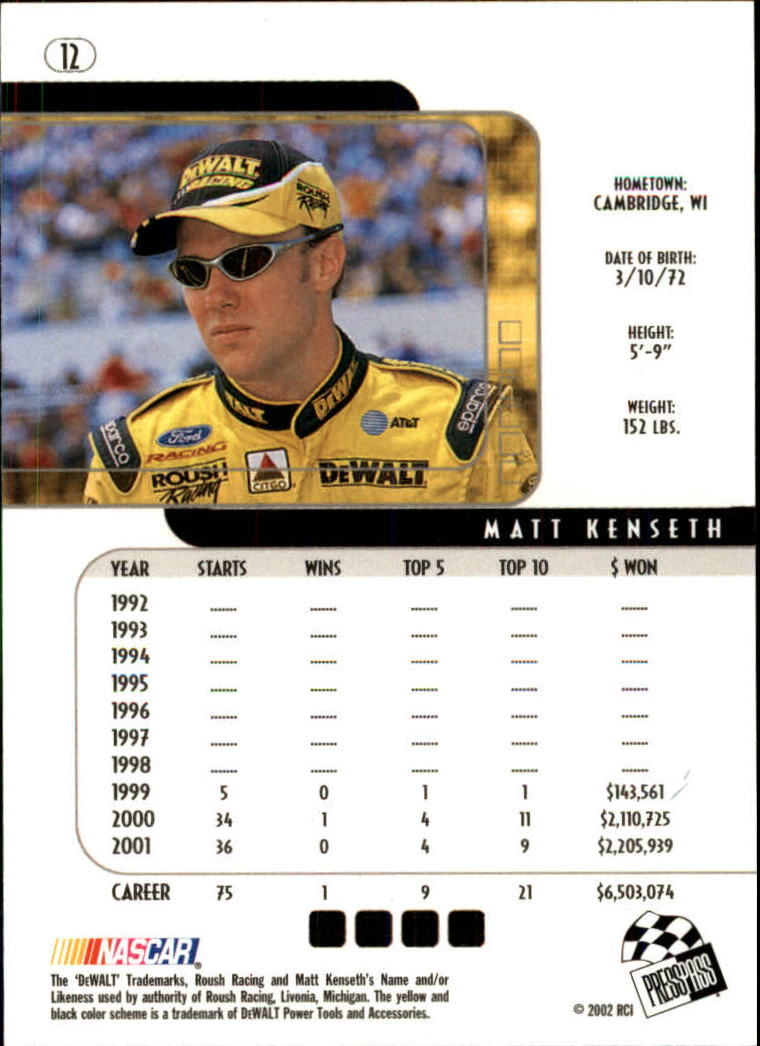 2002 Press Pass Eclipse #12 Matt Kenseth back image