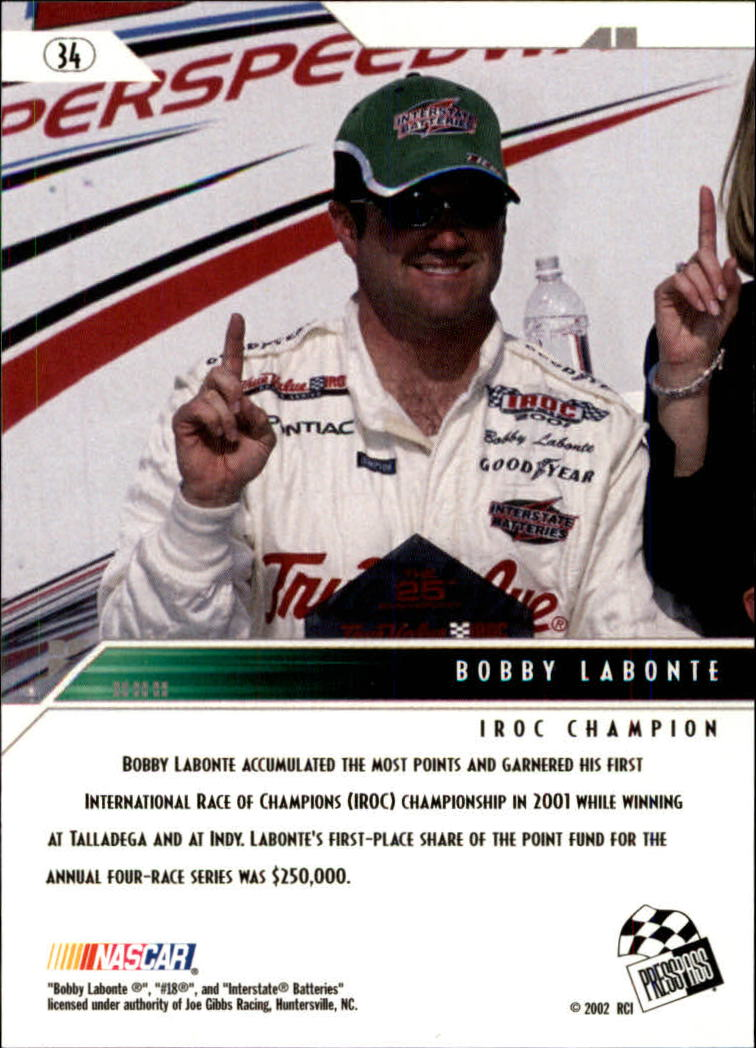 2002 Press Pass Eclipse #34 Bobby Labonte ACC back image