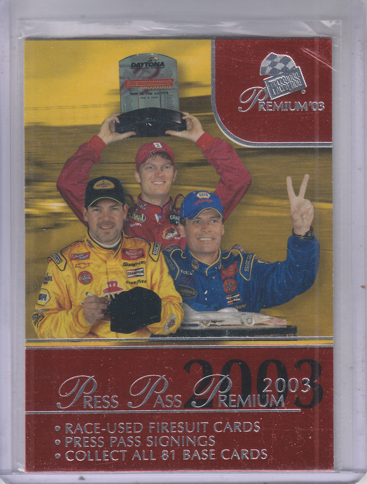 2003 Press Pass Premium Red Reflectors #50 Dale Jr./Park/Waltrip CL