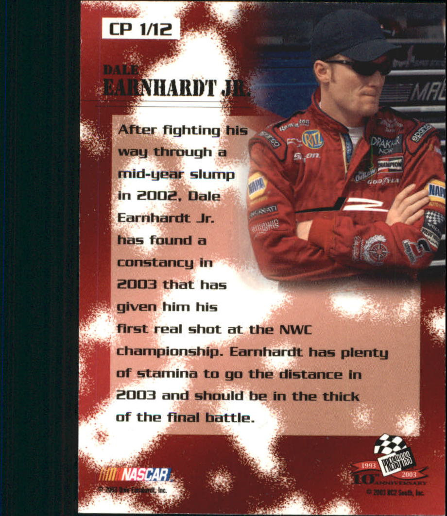 2003 Press Pass Optima Cool Persistence #CP1 Dale Earnhardt Jr.