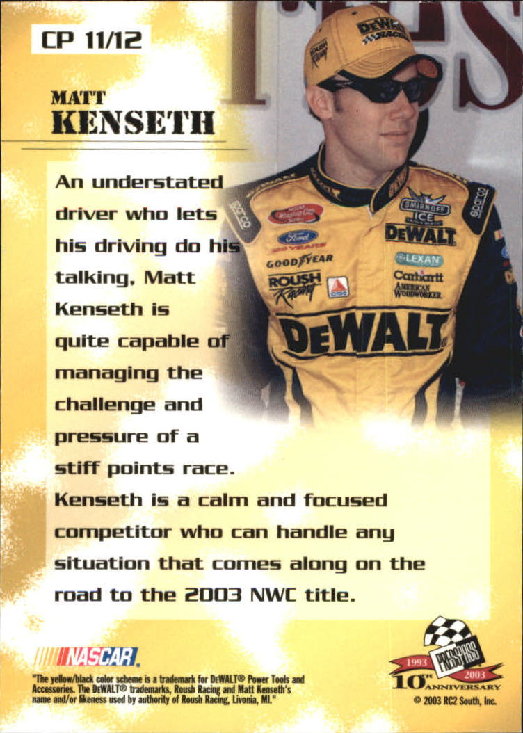 2003 Press Pass Optima Cool Persistence #CP11 Matt Kenseth