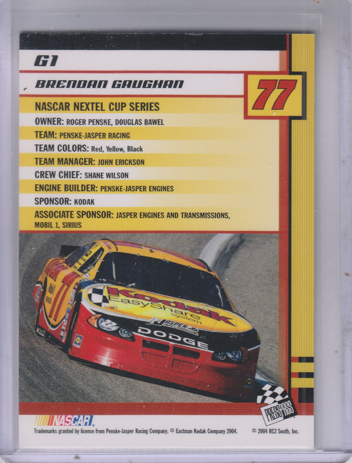 2004 Press Pass Trackside Golden #G1 Brendan Gaughan