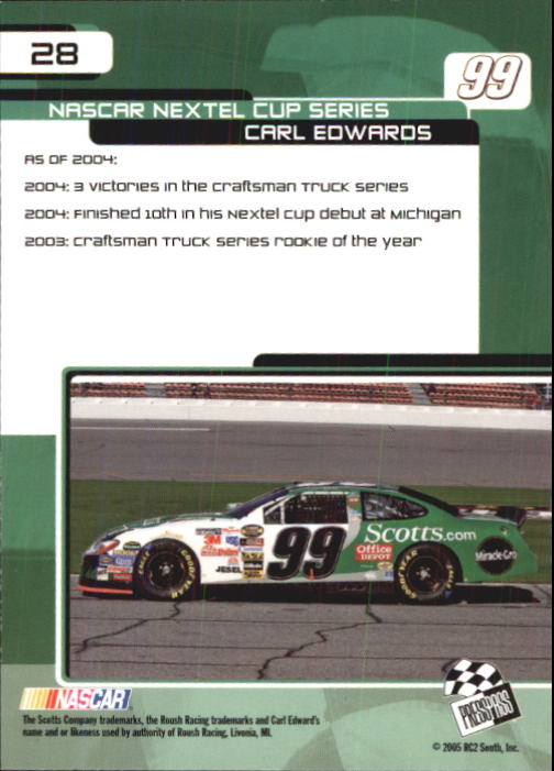 2005 Press Pass Trackside #28 Carl Edwards CRC back image