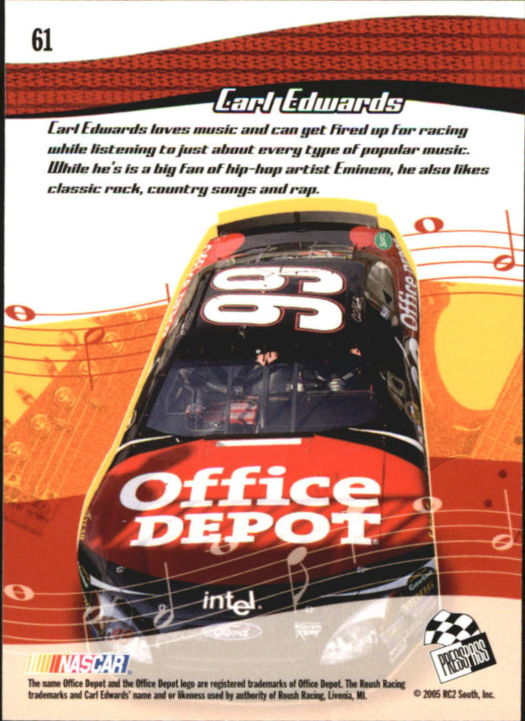 2005 Press Pass Optima #61 Carl Edwards RR back image