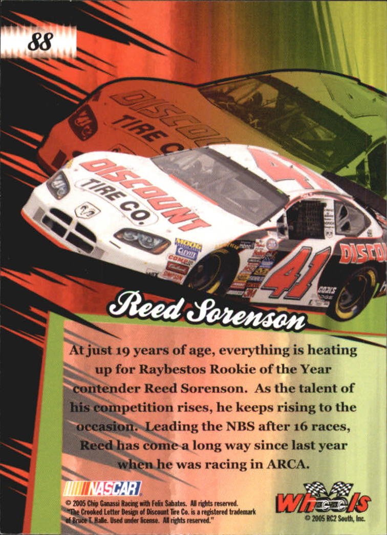 2005 Wheels American Thunder #88 Reed Sorenson RT RC back image