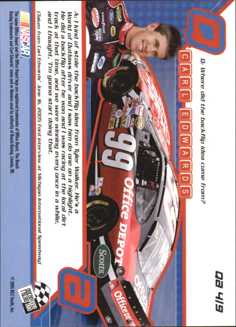 2005 Press Pass Optima Q & A #QA4 Carl Edwards back image