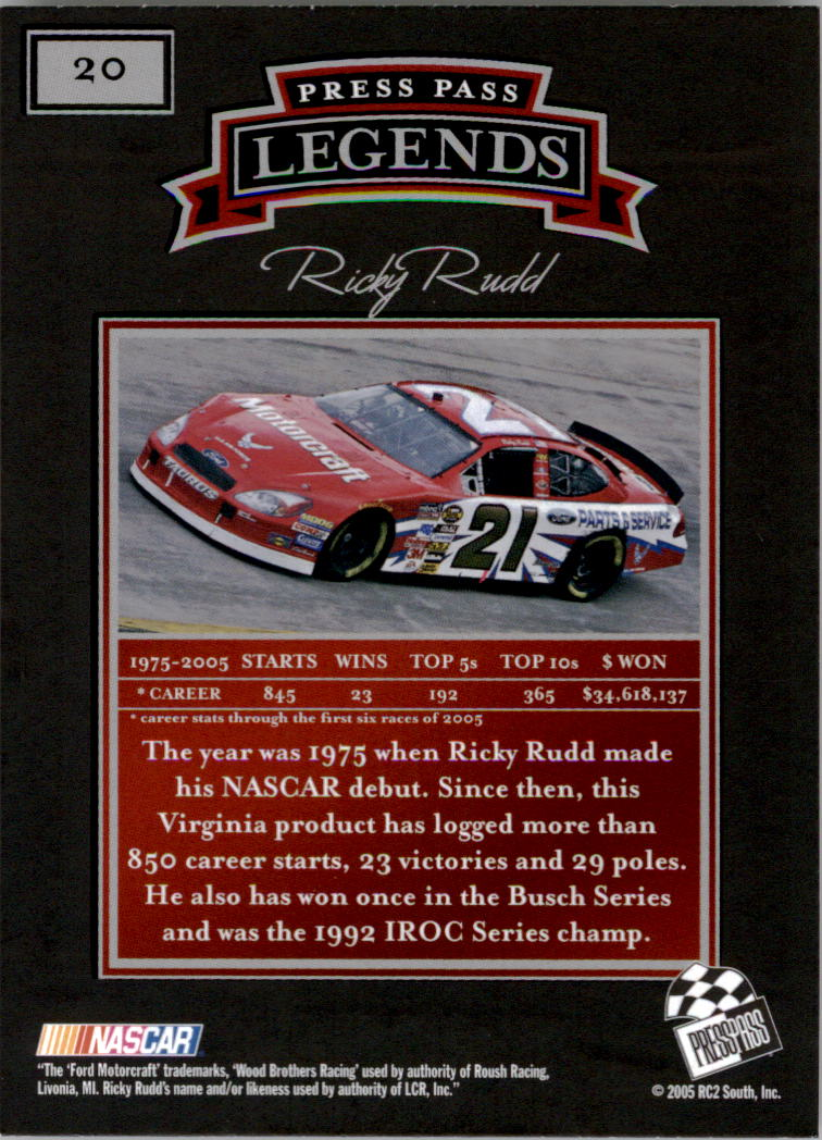 2005 Press Pass Legends #20 Ricky Rudd