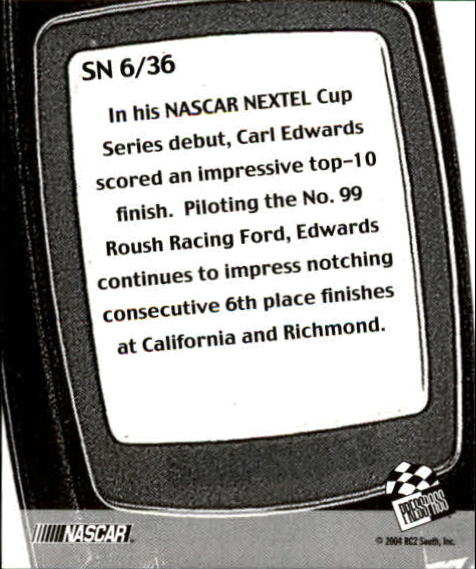 2005 Press Pass Snapshots #SN6 Carl Edwards back image