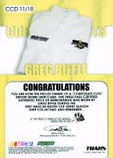 2007 Traks Corporate Cuts Driver #CCD11 Greg Biffle