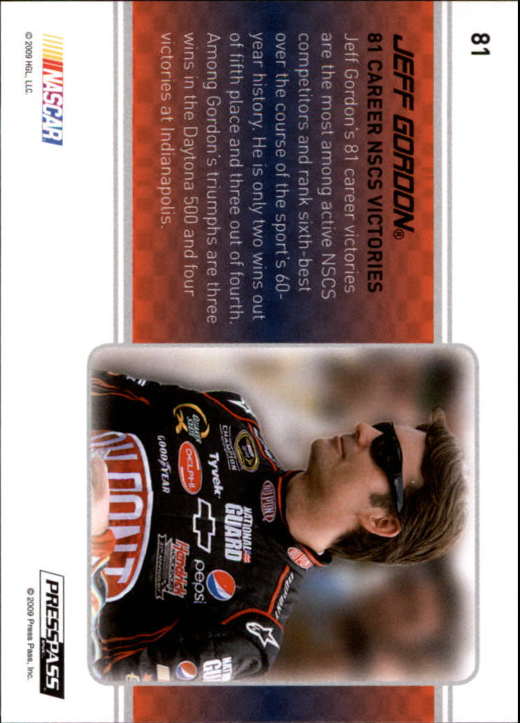 2009 Press Pass Premium #81 Jeff Gordon FL back image