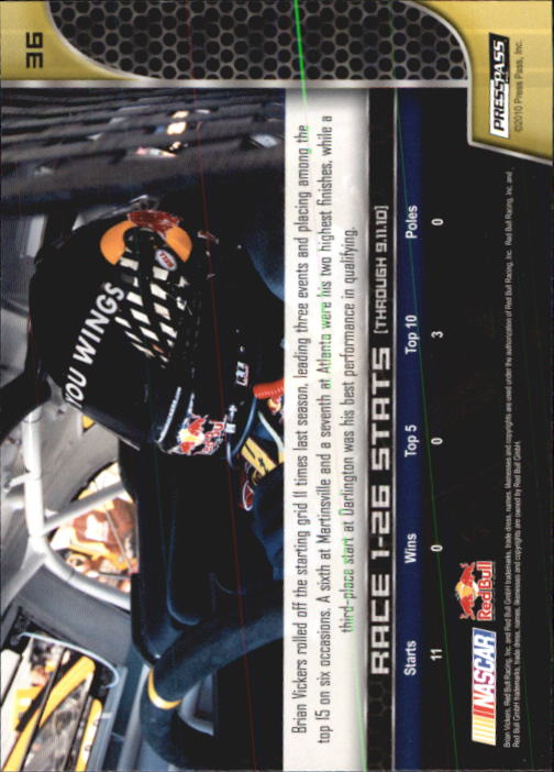 2011 Press Pass #36 Brian Vickers back image