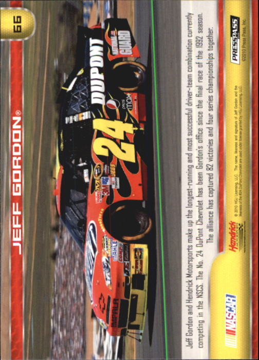 2011 Press Pass #66 Jeff Gordon's Car back image