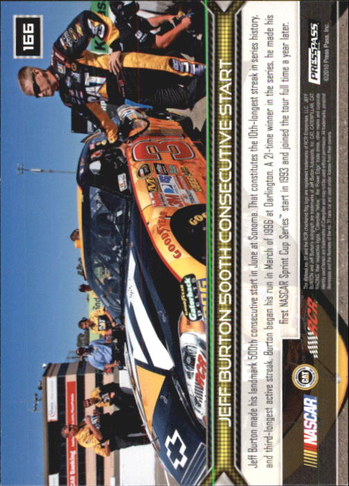 2011 Press Pass #166 Jeff Burton HL back image