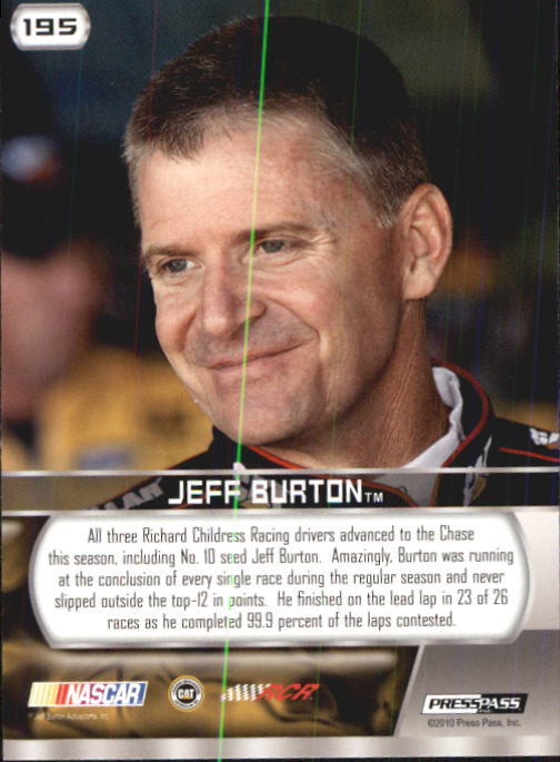 2011 Press Pass #195 Jeff Burton T12 back image
