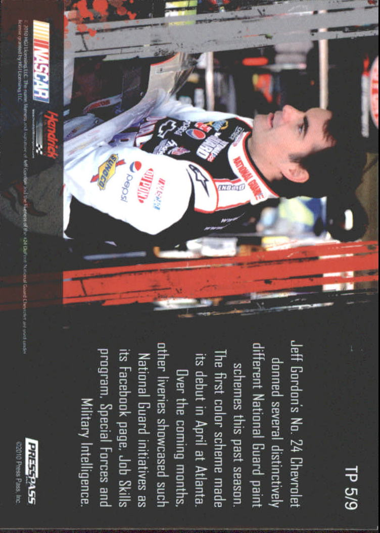 2011 Press Pass Tradin' Paint #TP5 Jeff Gordon back image