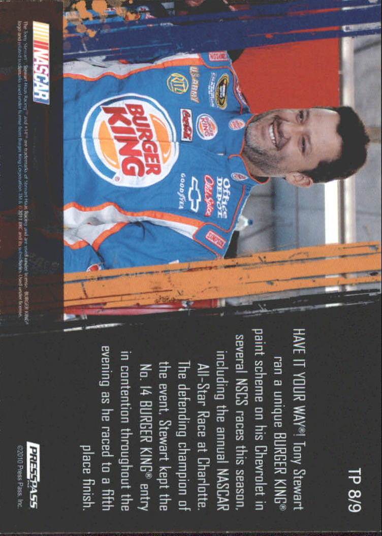 2011 Press Pass Tradin' Paint #TP8 Tony Stewart back image