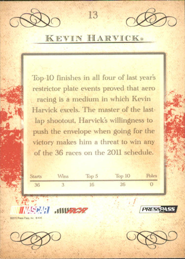 2011 Press Pass Eclipse #13 Kevin Harvick back image