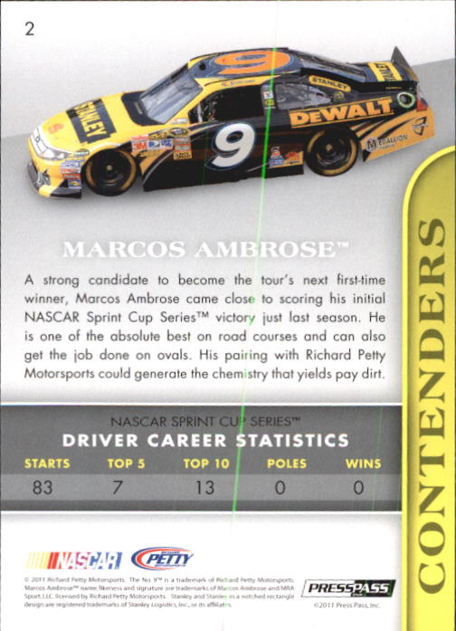 2011 Press Pass Premium #2 Marcos Ambrose back image