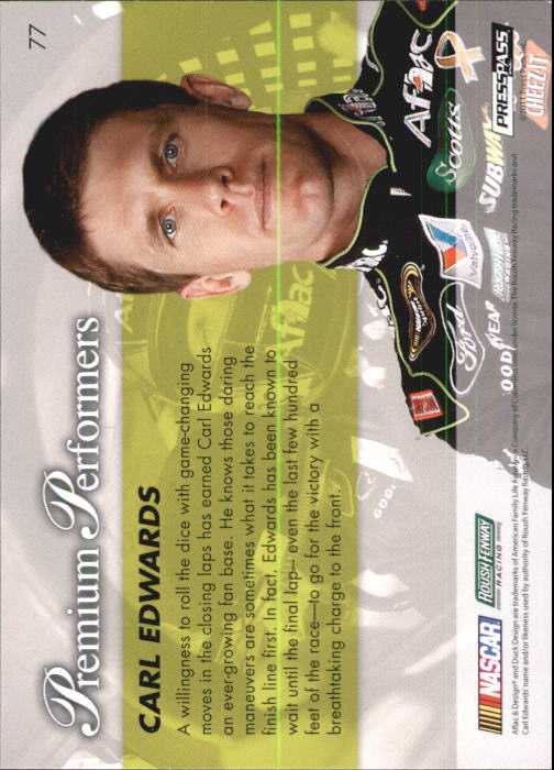 2011 Press Pass Premium #77 Carl Edwards PP back image
